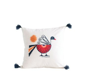 18,Square Cotton Pillow W/ Embroidered Peacock & Tassels