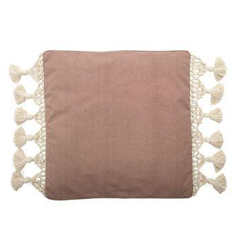 26,Square Woven Cotton Canvas Pillow W/ Macrame Fringe & Tassels, Rose Color