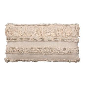 28,X 14,Woven Cotton & Wool Blend Lumbar Pillow W/ Fringe, Cream Color