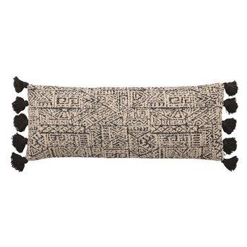 """Lumbar Pillow, Woven Cotton Pattern W/ Tassels, Black & Natural, 36""""X 14"""""""