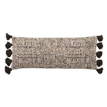 36,X 14,Woven Cotton Patterned Lumbar Pillow W/ Tassels, Black & Natural