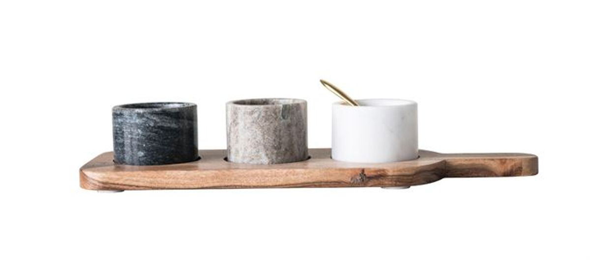 Acacia Wood Board W/ 3 Marble Pinch Pots & Brass Spoon, Set Of 5