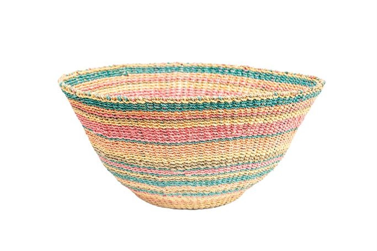 Woven Abaca Wall Basket W/ Stripes, Multi-Color