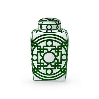 Jasper Square Jar, Green & White