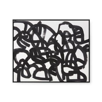 Maze Framed Silk Panel, Black