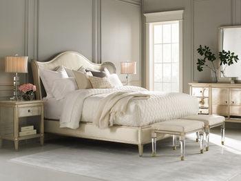 "KING, Elegant Comfort, Cream Upholstery & Blended Auric Silver Leaf/Gold Bullion 62""H x 94.25""W x 90.5""D"
