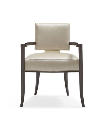 Sateen Dining Armchair With Gold Metal Accents