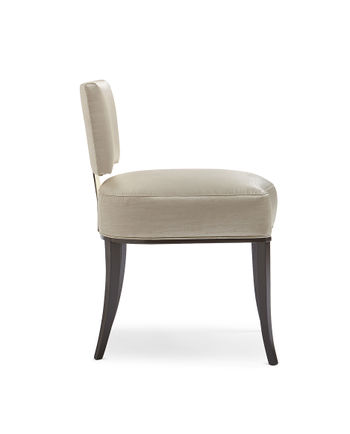 Sateen Dining Chair With Gold Metal Accents