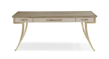 Shimmer Grey Desk With Gold Legs