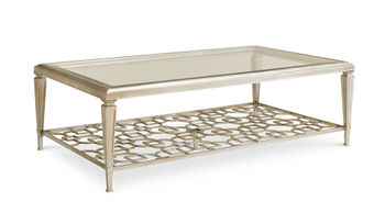 Taupe Silver Leaf Coffee Table With Fretwork Shelf