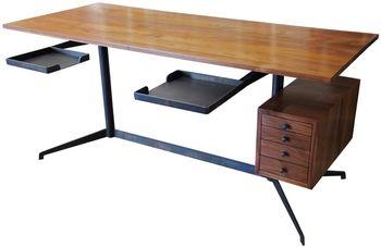 Edward Desk, Steel/Walnut