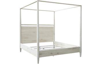 Reclaimed Washed Oak Modern 4-Poster Bed, East. King