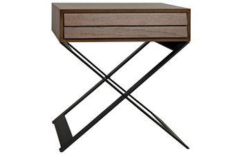 Xochitl Side Table, Walnut Top/Drawer