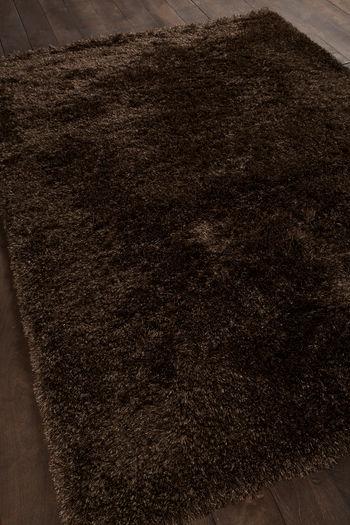 "Rug, Hand-woven Contemporary Shag Rug, Dark Brown/Beige, Polyester,  60""W x 90""D"
