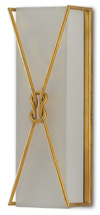 """Large Wall Sconce, Looping Knots in Contemporary Gold Leaf Finish, 18""""H"""