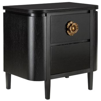 """Nightstand, 27.75""""H x 28""""W Curvy elegance, Oak, black stain, antique brass finished floral pull"""