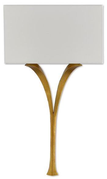 """Wall Sconce, Winsome Wishbone Shape in antique gold leaf finish, 30.75""""H"""