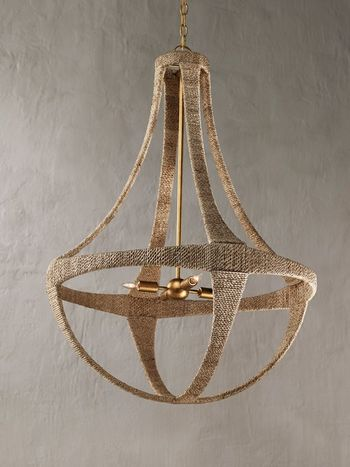 """Chandelier, Classy Coastal Style in Wrought Iron wrapped in Abacá rope, 39.5""""H"""