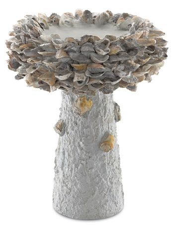Oyster Shell Medium Bird Bath