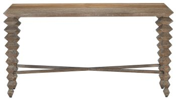 Wire-Brushed Oak Console Table