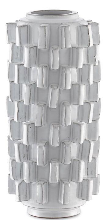 "Vase, Created from white terracotta, in arty global knobby design, ivory , 15.5""H"