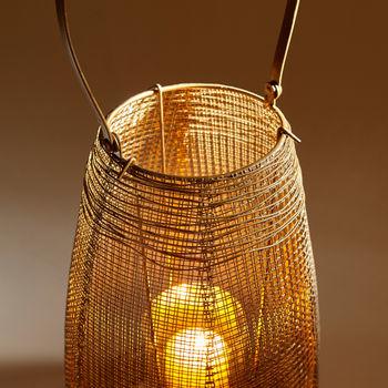 "Candleholder, Gold finished unique gauze-like Iron over Glass, 23.25""H x 8.75""W"