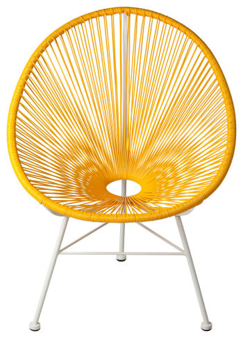 Acapulco Indoor/Outdoor Weave Lounge Chair, Yellow Weave On White Frame