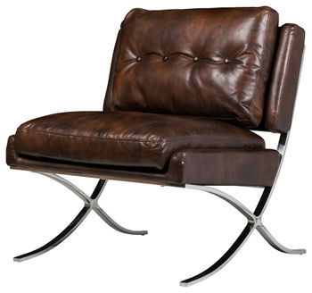 Capetown Occasional Chair, Antique Brown Leather