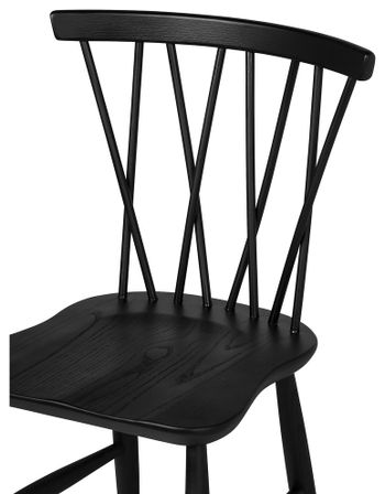 Dining Chair, Criss cross style seat back and modern clean lines. Beechwood in Black