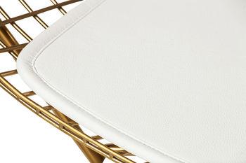Mesh Chair, Champagne Gold, White Vegan Leather Seat Cushion