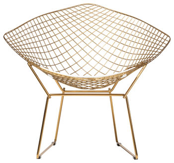 Wire Diamond Chair In Champagne Gold, White Seat Cushion