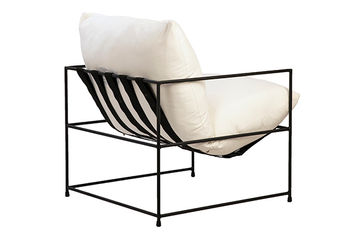 Chair, White Cotton and Linen with Polyester Fiber Fillings