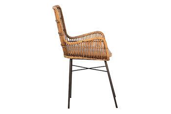 Dining Chair, Global Inspired Rattan in Honey Brown Wash, Black Steel Frame