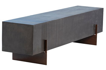 """Bench,  63""""W, Architectural Style, lightweight concrete w/steel base, lava color finish"""