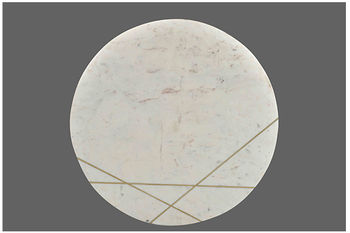 """Round Coffee Table White Marble, Gold Finished Base, 30""""W x 30""""D"""