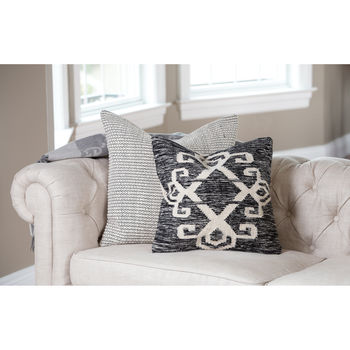 """Pillow, Global Design in Distressed Black, White Cotton, Wool, Feather, 20""""X 20"""""""