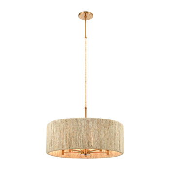 Abaca 5-Light Chandelier In Satin Brass With Abaca Rope