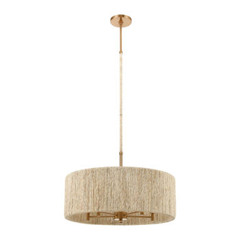 """Chandelier, Satin Brass + Organic Texture With Abaca Rope, 24""""D"""