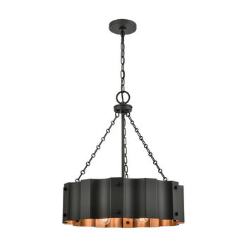 Clausten 4-Light Chandelier In Black And Gold With Black Metal Shade