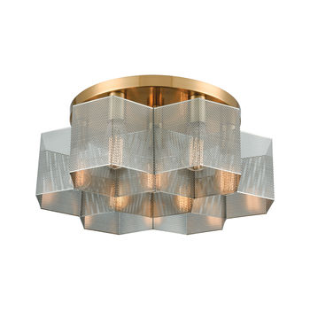 Compartir 7-Light Semi Flush Mount In Satin Brass With Perforated Metal