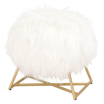 White Fur, Brushed Gold Ottoman