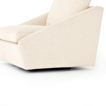 Modern Upholstered Swivel Chair, Ecru