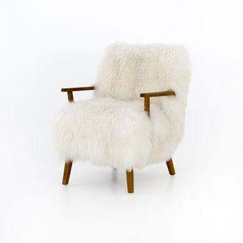 Ashland Armchair-Mongolia Cream Fur