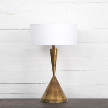 Clement Table Lamp-White-Burnt Brass