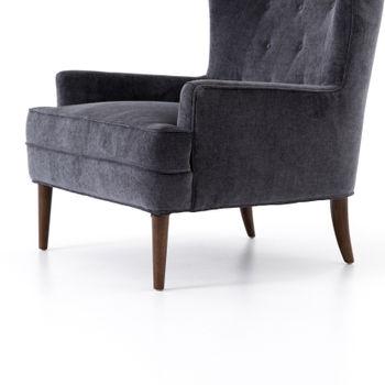 Chair-Charcoal Worn Velvet, Rubberwood