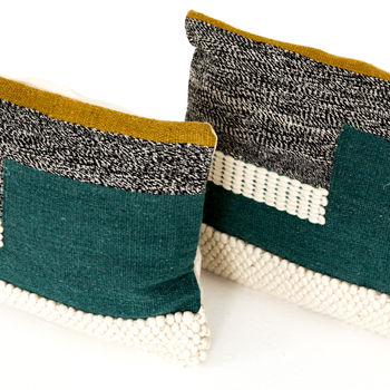 """Pillow, Set Of 2, Retro-Inspired Color Block, Handmade of 70%Wool/30%Cotton, 16""""X24"""""""
