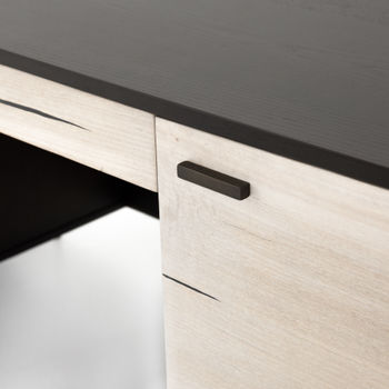 "Desk, Modern Style In Black Ash & Bleached Yukas Wood, Gunmetal-Finished Iron, 70""W"