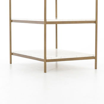 """Nightstand, 26""""H x 25""""W  Modern Lux, Polished white marble & antique brass finished frame"""