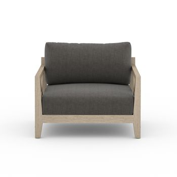 Outdoor Chair, Criss-Cross Washed Brown Teak, Charcoal