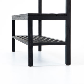 """Bench, 50.25""""W, Entry or mudroom, """"Hang it up"""", Black finished reclaimed pine"""